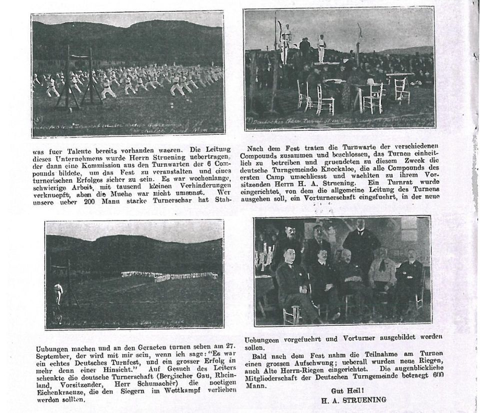 Foto de jornal de exercícios de ginástica alemâ  no campo de detenção de Knocklaoe que mostra a influência alemã nas aulas de pilates